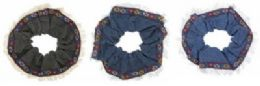 72 Units of assorted cotton denim fabric with a floral ribbon trim - Hair Scrunchies