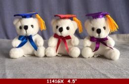 """36 Units of 4.5"""" Graduation Bear With Colored Hat - Plush Toys"""