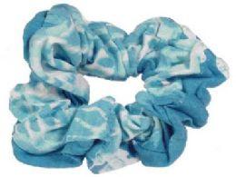72 Units of Blue and white print Scrunchies - Hair Scrunchies