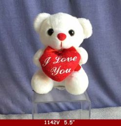 """60 Units of 5.5"""" White Bear With Red Heart - Plush Toys"""