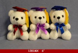 "60 Units of 6"" White Graduation Bear - Plush Toys"