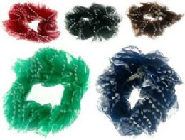 72 Units of Assorted color nylon scrunchies with triangle pattern - Hair Scrunchies