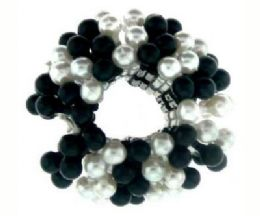 72 Units of Black and White acrylic beaded scrunchie - Hair Scrunchies