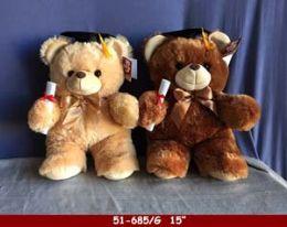"""12 Units of 15"""" Soft Plush Grad Bear - Plush Toys"""