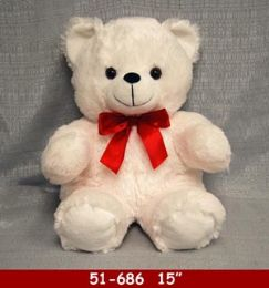 "12 Units of 15"" White Soft Plush Bear With Red Ribbon - Plush Toys"