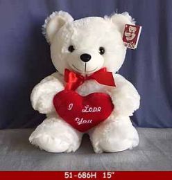 """12 Units of 15"""" White Soft Plush Bear With Red Heart - Plush Toys"""