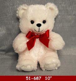 """24 Units of 10"""" Soft White Plush Bear - Plush Toys"""
