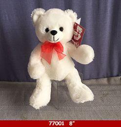 "24 Units of 8"" Soft Plush White Bear With Red Ribbon - Plush Toys"