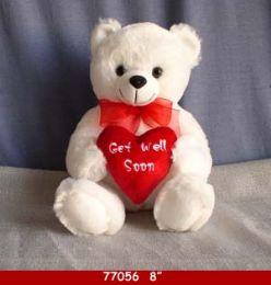 "24 Units of 8"" White Plush Get Well Soon Bear - Plush Toys"