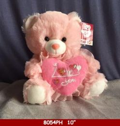 """12 Units of 10"""" Soft Plush Pink Bear With Heart - Plush Toys"""