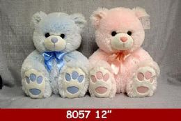 """12 Units of 12"""" Big Feet Plush Bears In Pink And Blue - Plush Toys"""