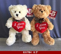 """24 Units of 8.5"""" Plush Toy Teddy Bear With Love You Heart - Plush Toys"""