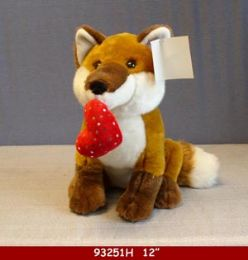 """12 Units of 12"""" Plush Fox Toy With Red Heart - Plush Toys"""