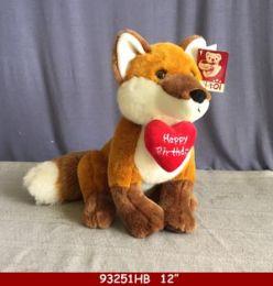 """12 Units of 12"""" Plush Happy Birthday Fox Toy - Plush Toys"""
