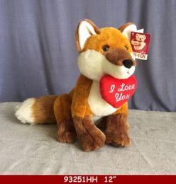 """12 Units of 12"""" Plush Toy Fox With Love You Heart - Plush Toys"""