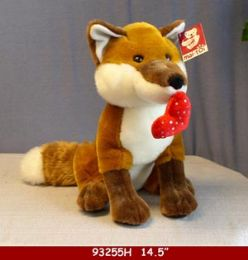 """12 Units of 14.5"""" Plush Toy Fox With Love You Heart - Plush Toys"""