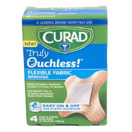 48 Units of Bandages Curad 4ct Ouchless Knee & Elbow Silicone - Bandages and Support Wraps