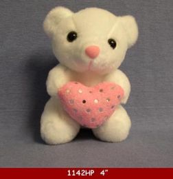 """48 Units of 5"""" Sitting Bear With Pink Heart - Plush Toys"""