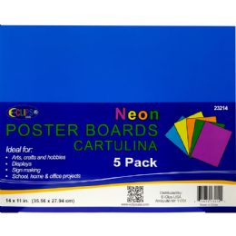 """36 Units of Poster Board - Neon Colors - 5 pack - 11"""" x 14"""" - Poster & Foam Boards"""