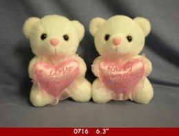 """36 Units of 6.3"""" White Stuff Bear With Pink Love Mom Heart - Plush Toys"""