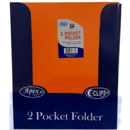 48 Units of 2 Pocket poly folder, no holes, matt/shinny, orange, in display - Folders and Report Covers