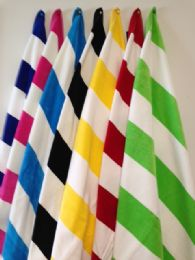 12 Units of Luxury Jacquard Cabana Stripe Beach Towel 35 X 60 Lime Green / White - Beach Towels