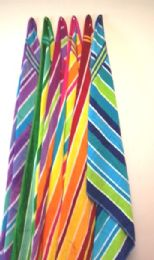12 Units of Luxury Beach Towel Double Jacquard Candy Stripe Assorted Colors 30 X 60 - Beach Towels