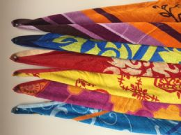 """12 Units of Luxury Beach Towel Double Jacquard """" Madiera """" Assorted Colors 34 X 63 - Beach Towels"""