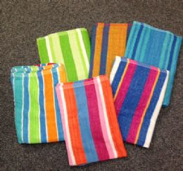 24 Units of Jacquard Stripe Beach Towels 5 Assorted Colors 30 X 60 - Beach Towels