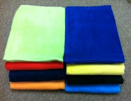 24 Units of Terry / Velour Beach Towels Solid Color 100% Cotton 30 X 60 Black - Beach Towels