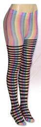 36 Units of Wholesale Banded Neon Stripe Tights - Womens Tights