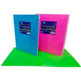 48 Units of 2 Pocket folder with zipp envelope, neon colors, in display - Poster & Foam Boards