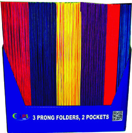 100 Units of 2 Pocket Folders, With Prongs, Asst. Colors, in Display - Folders and Report Covers