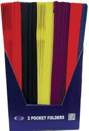 100 Units of 2 Pocket Folders, Laminated, No Holes, Asst. Colors, in Display - Folders and Report Covers