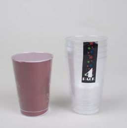 48 Units of Tumbler 4pk 14oz Clear Plastic 14oz W/floral Pattern Wrap Label - Plastic Drinkware