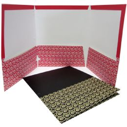 48 Units of 3 Pockets triple face folders, geometric/solid desings, asst colors, no holes, in display - Folders and Report Covers