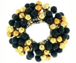 72 Units of goldtone and black beaded scrunchies - Hair Scrunchies