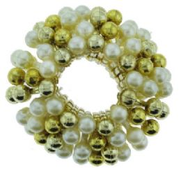 72 Units of Goldtone And Faux Pearl Beaded Scrunchies - Hair Scrunchies
