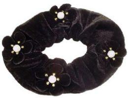 72 Units of Black Velvet Scrunchies, With Velvet Flowers - Hair Scrunchies
