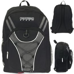 "24 Units of 19"" Bungee Design Backpack In Solid Black Colo - Backpacks 18"" or Larger"