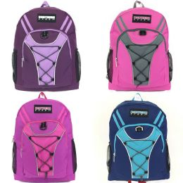 "24 Units of Girls 19"" Bungee Design Backpack In 4 Assorted Colors - Backpacks 18"" or Larger"