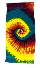 12 Units of Tye Die Beach Towel 30 x 60 Reactive Rainbow - Beach Towels