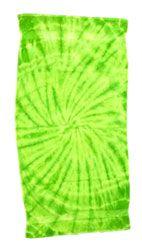 12 Units of Tye Die Beach Towel 30 x 60 Spider Lime - Beach Towels
