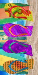 12 Units of Cotton Printed Fiber Reactive Beach Towel 30 x 60 Flip Flop 2 - Beach Towels