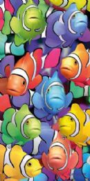 12 Units of Cotton Printed Fiber Reactive Beach Towel 30 x 60 Fish - Beach Towels