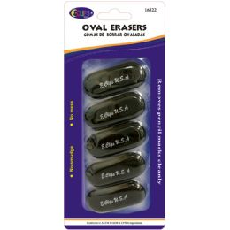24 Units of Oval Shaped Erasers 5 Count - Black - Erasers