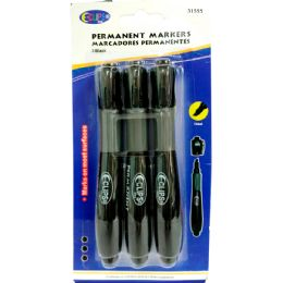 48 Units of Permanent markers, chisel tip, 3 pk., black ink - MARKERS/HIGHLIGHTERS