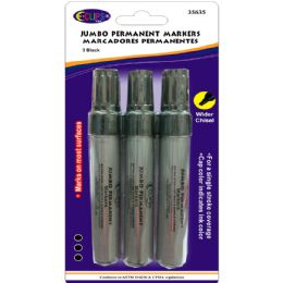 48 Units of Jumbo Permanent markers, wider chisel tip, 3 pk., black ink - MARKERS/HIGHLIGHTERS