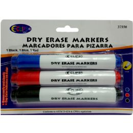 48 Units of Whiteboard markers, chisel tip, 3 pk., black, blue & red ink