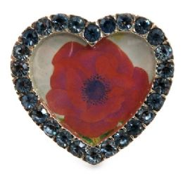 12 Units of Small Picture Frame Shaped As A Heart With Light Blue Rhinestones Around The Frame - Picture Frames